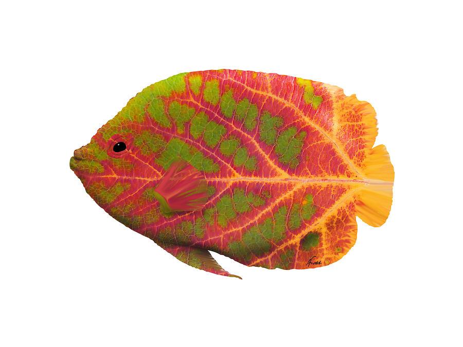 Tropical Fish Digital Art - Aspen Leaf Tropical Fish 1 by Agustin Goba