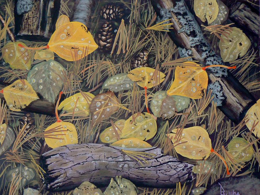 Aspen leaves and needles by Ray Nutaitis
