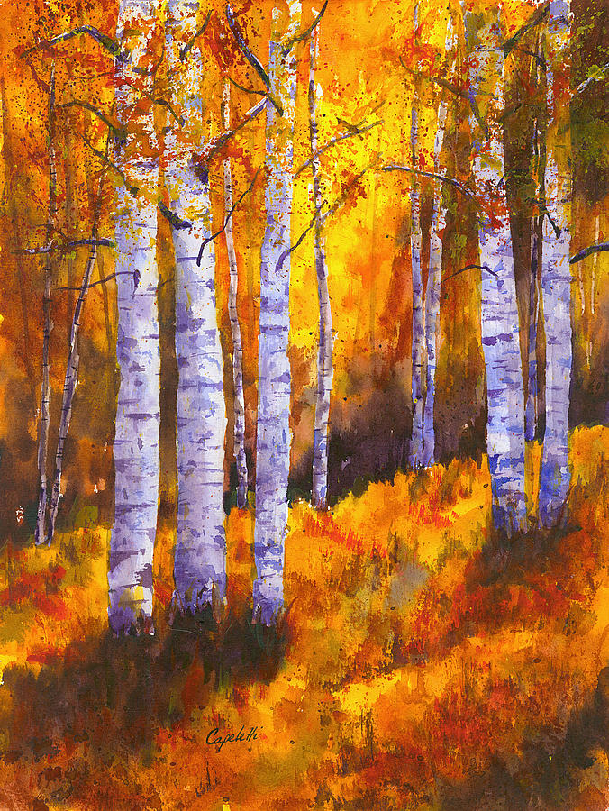 Aspen Trees Painting By Barb Capeletti