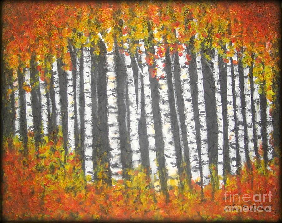 Aspen Tress Painting - Aspen Trees by Elena  Constantinescu