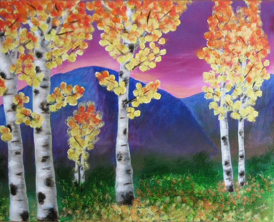 Aspen Painting - Aspens And Mountains IIi by Elizabeth Golden