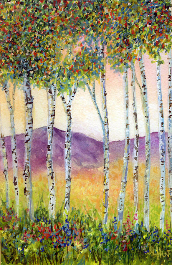 Aspen Trees Painting - Aspen Impressions by June Hunt