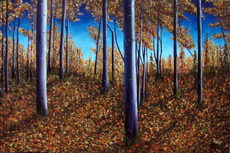 Aspen Painting - Aspens In Autumn II by Helen Eaton