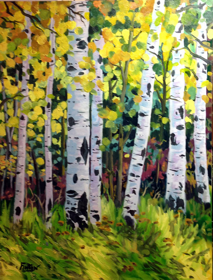 Nature Painting - Aspens  by W  Scott Fenton