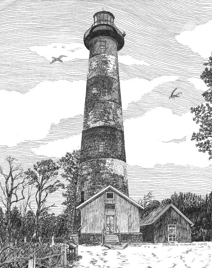 Assateague Island Drawing - Assateague Island Lighthouse by Stephany Elsworth