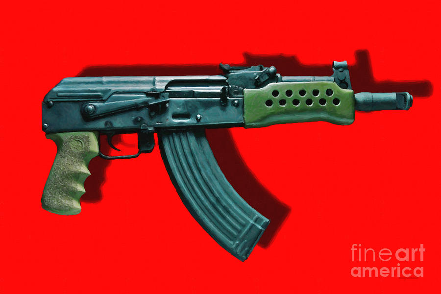 Gun Photograph - Assault Rifle Pop Art - 20130120 - V1 by Wingsdomain Art and Photography