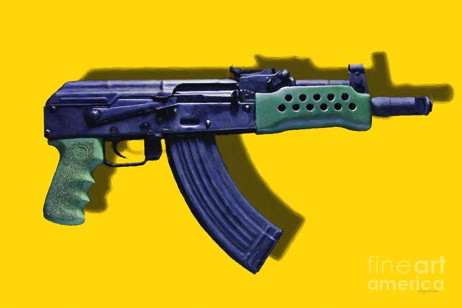 Gun Photograph - Assault Rifle Pop Art - 20130120 - V2 by Wingsdomain Art and Photography