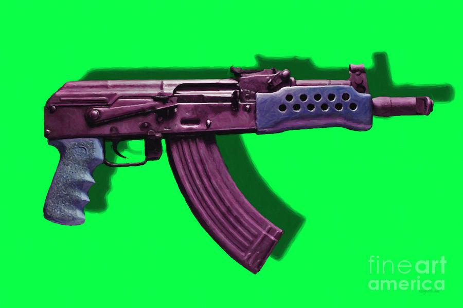 Gun Photograph - Assault Rifle Pop Art - 20130120 - V3 by Wingsdomain Art and Photography