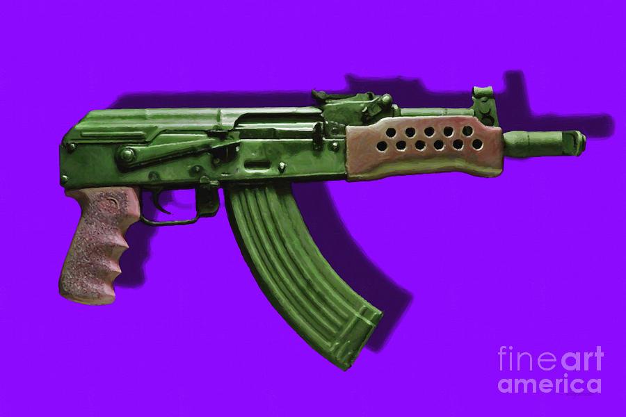 Gun Photograph - Assault Rifle Pop Art - 20130120 - V4 by Wingsdomain Art and Photography
