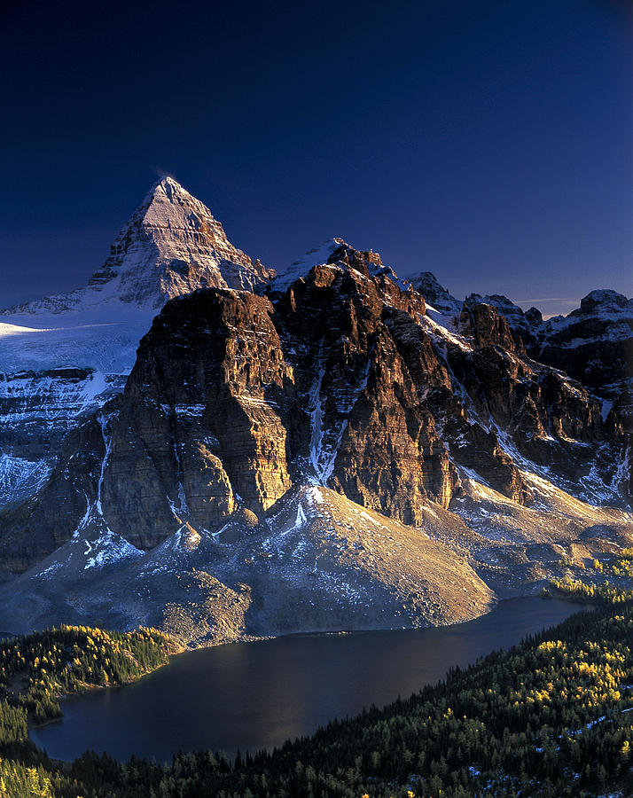Assiniboine Photograph - Assiniboine and Sunburst Peak at sunset by Richard Berry