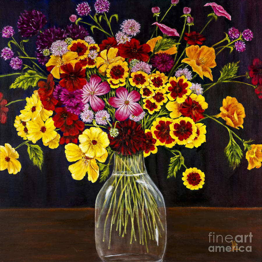 Flowers Painting - Assorted Flowers In A Glass Vase By Alison Tave by Sheldon Kralstein