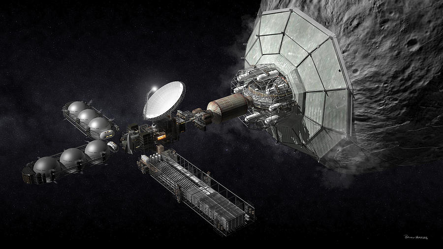 Asteroid Mining Digital Art - Asteroid Mining And Processing by Bryan Versteeg