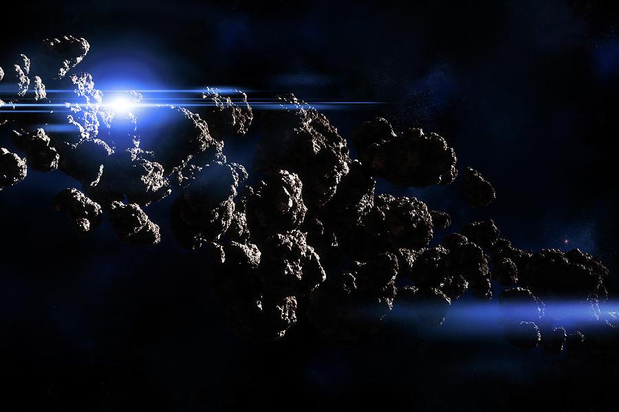 Asteroids Field In Deep Space Digital Art by Maciej Frolow