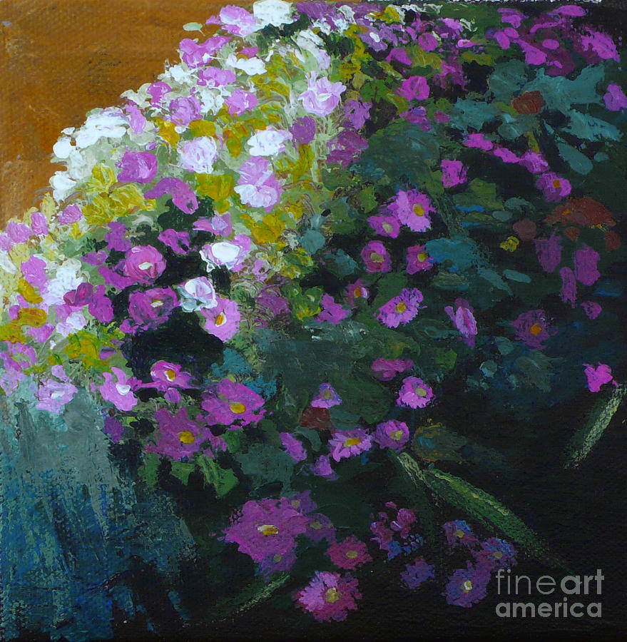Contemporary Floral Painting Painting - Asters by Melody Cleary