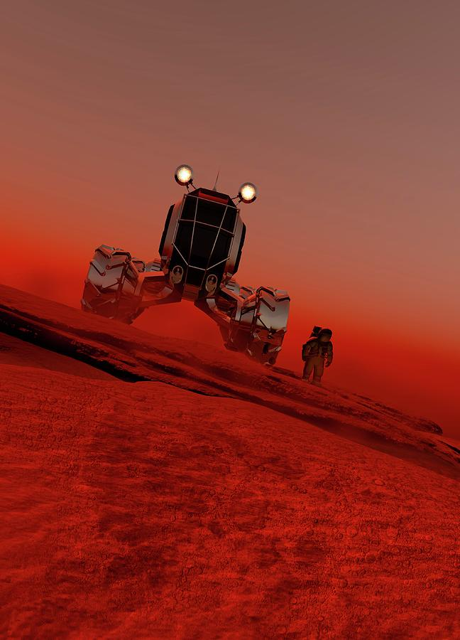 Artwork Photograph - Astronaut And Vehicle On Mars by Victor Habbick Visions