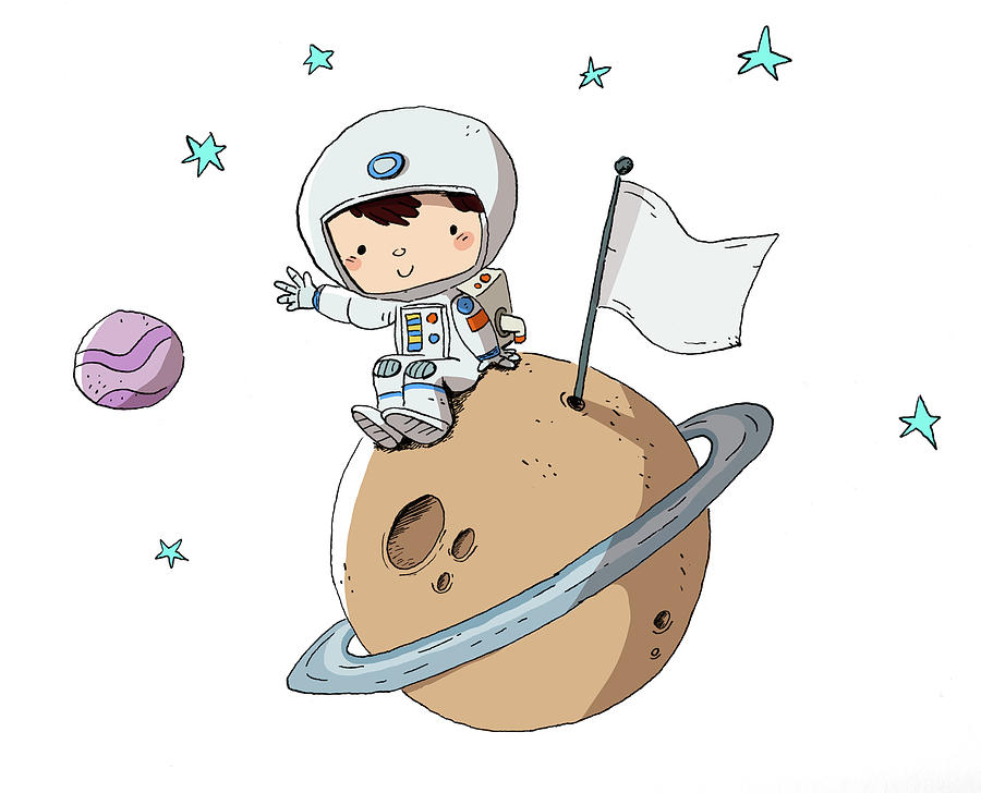 Astronaut, Child In Space Sitting On A Digital Art by Pixel107