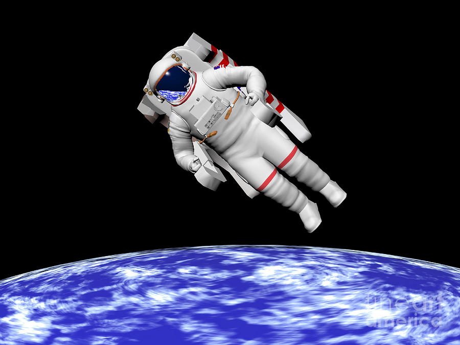 Astronaut Floating In Outer Space Digital Art By Elena