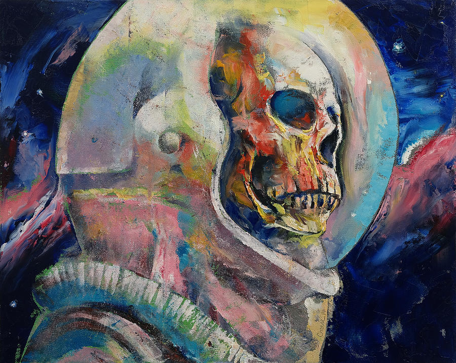 Skull Painting - Astronaut by Michael Creese
