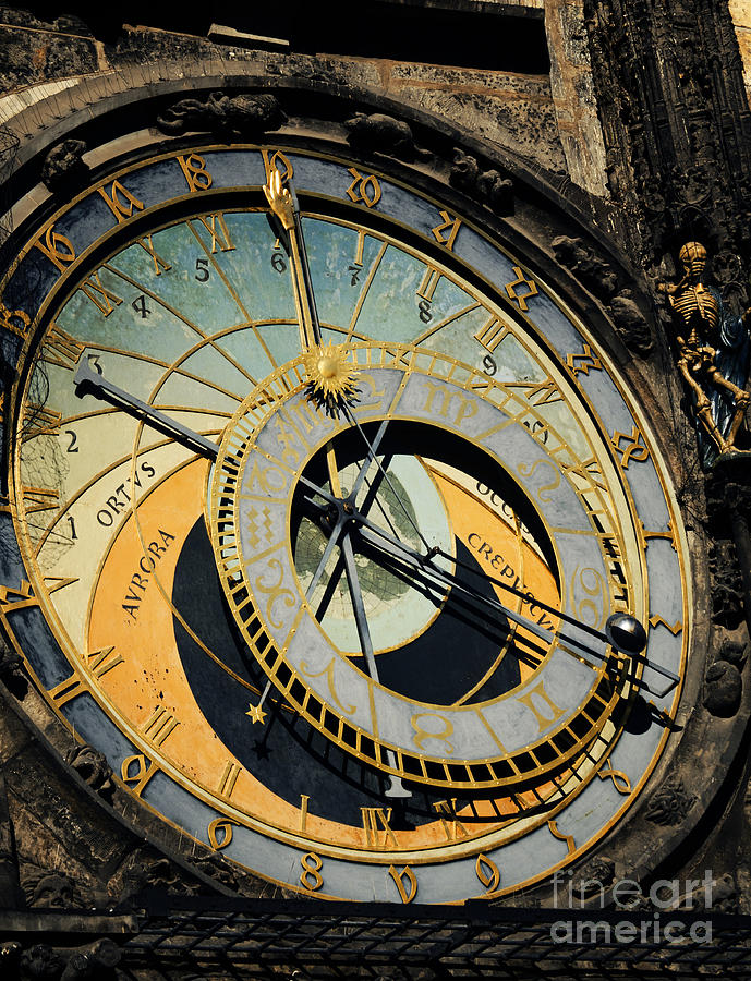 Prague Pyrography - Astronomical Clock In Prague by Jelena Jovanovic