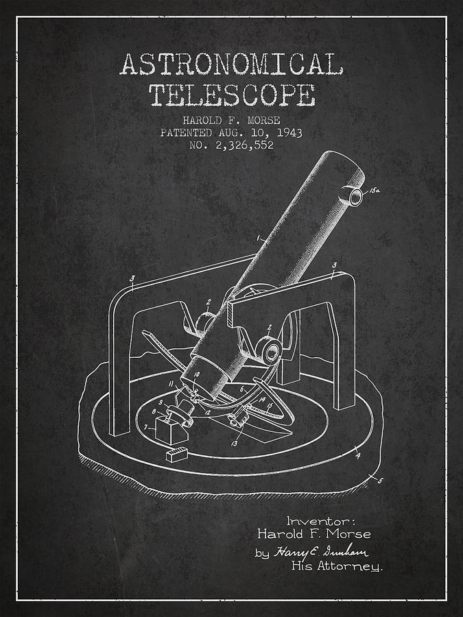 Telescope Digital Art - Astronomical Telescope Patent From 1943 - Dark by Aged Pixel