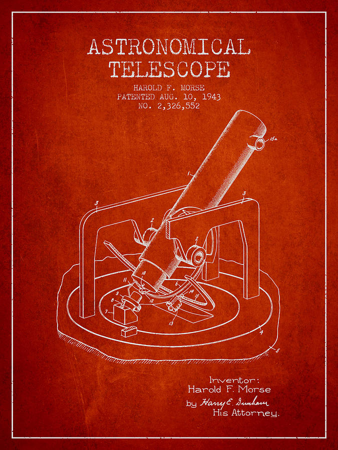 Telescope Digital Art - Astronomical Telescope Patent From 1943 - Red by Aged Pixel