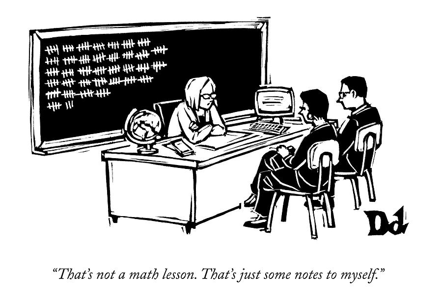 At A Parent-teacher Conference Drawing by Drew Dernavich