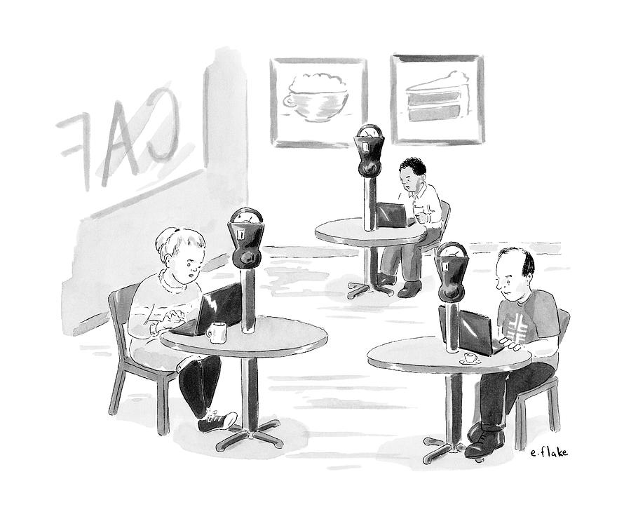 At An Internet Cafe Drawing by Emily Flake