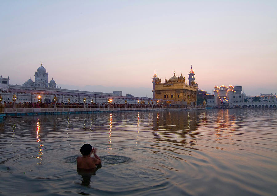 Golden Temple Photograph - At Dawn by Devinder Sangha