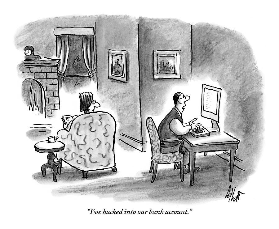 At Home, A Husband At His Computer Talks Drawing by Frank Cotham