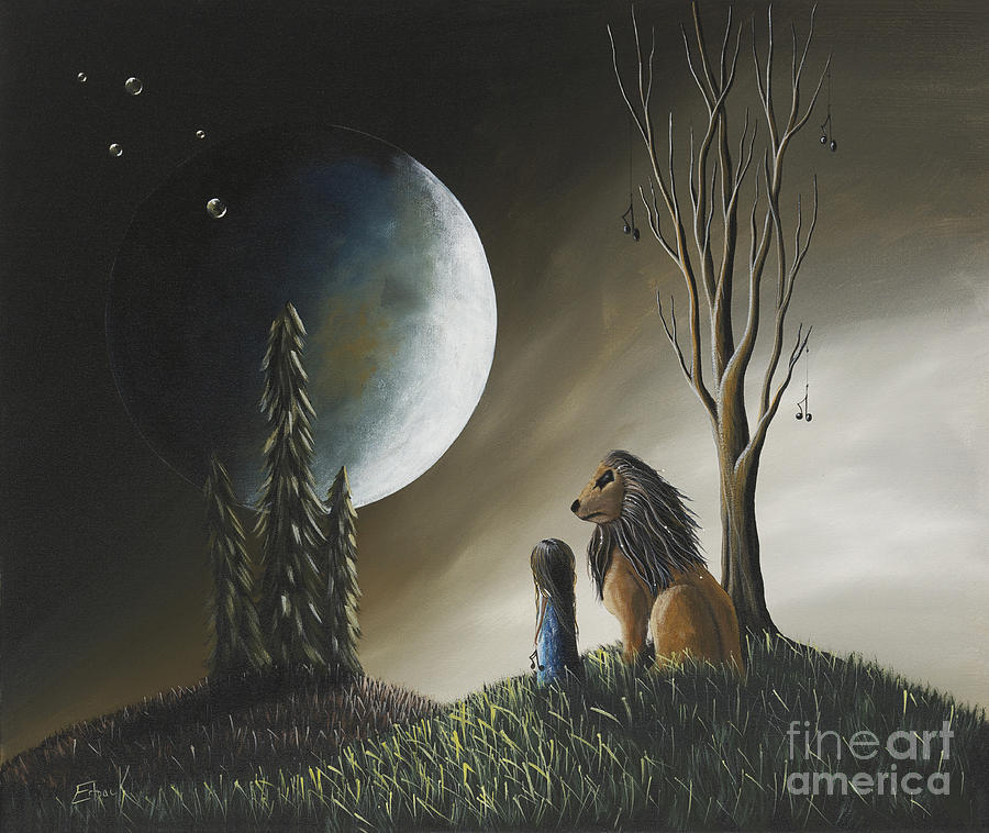 Moon Painting - At Midnight By Shawna Erback by Shawna Erback