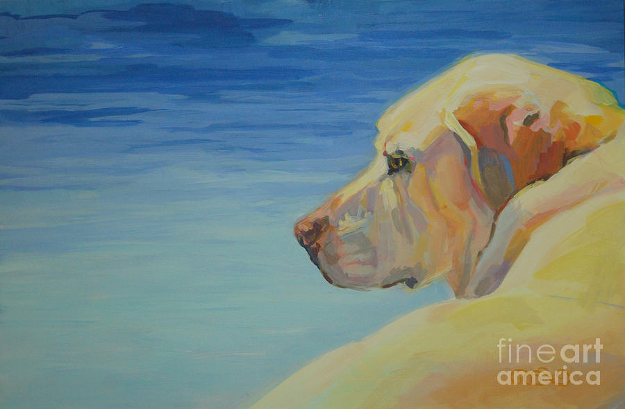 Yellow Lab Painting - At Peace by Kimberly Santini
