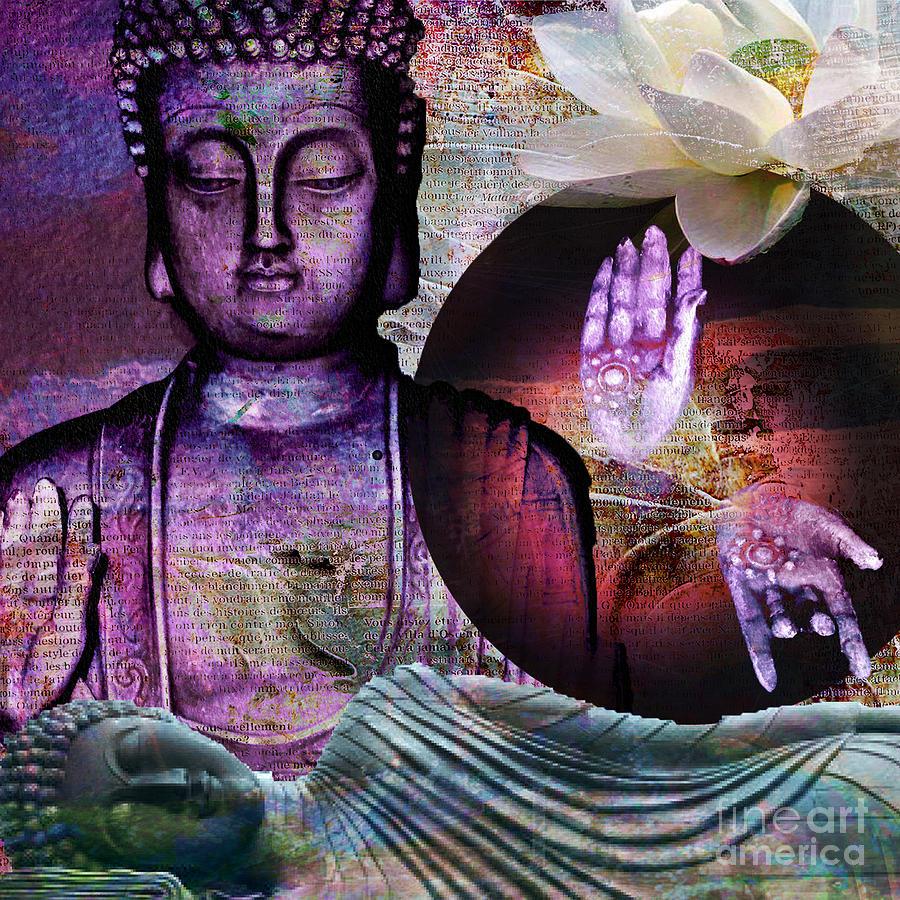 Sleeping Buddha Digital Art - At Peace by M Montoya Alicea