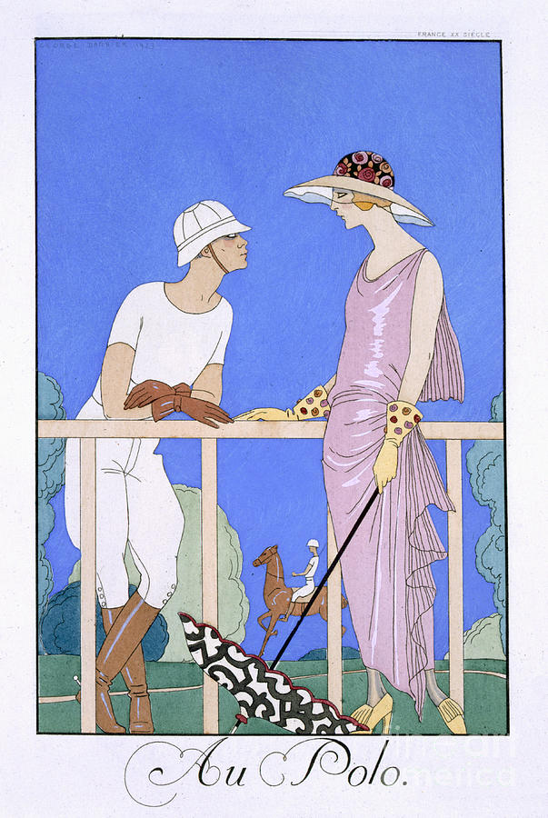 French Painting - At Polo by Georges Barbier