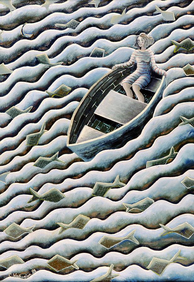 Rowing Painting - At Sea by Celia Washington