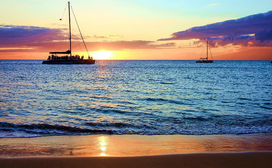 Hawaii Photograph - At Sea Sunset by Robert  Aycock