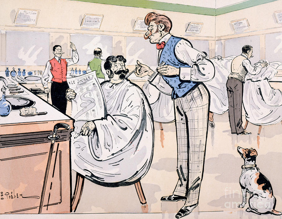 Thelem Painting - At The Barber And Reading Le Jockey by Thelem