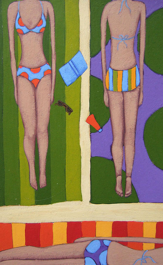 Beach Painting - Bikinis At the Beach by Christy Beckwith