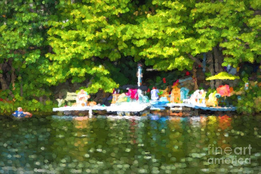 Dock Photograph - At The Cottage Dock by Les Palenik