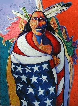 American Indian Painting - At The Crossroads by Joe  Triano