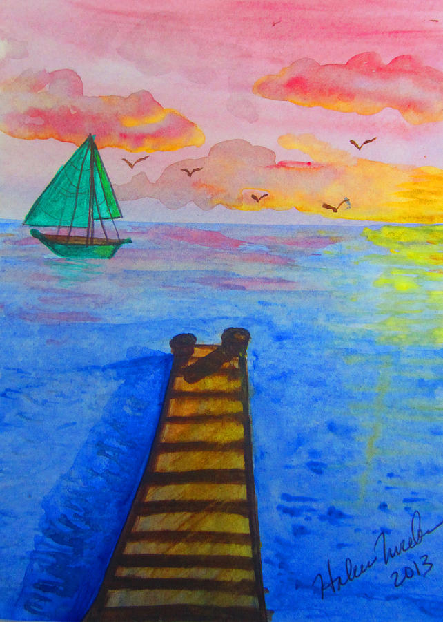 At The Dock Painting by Haleema Nuredeen