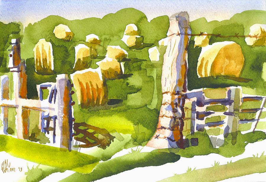 Farm Painting - At The Farm Baling Hay II by Kip DeVore