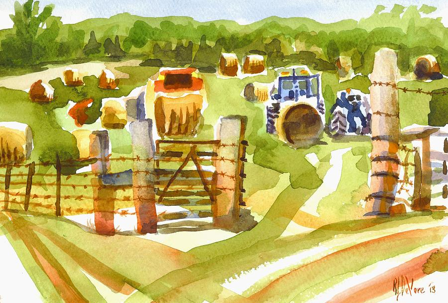 At The Farm Baling Hay Painting - At The Farm Baling Hay by Kip DeVore