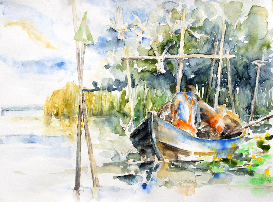 Summer Painting - At The Fish Trap by Barbara Pommerenke
