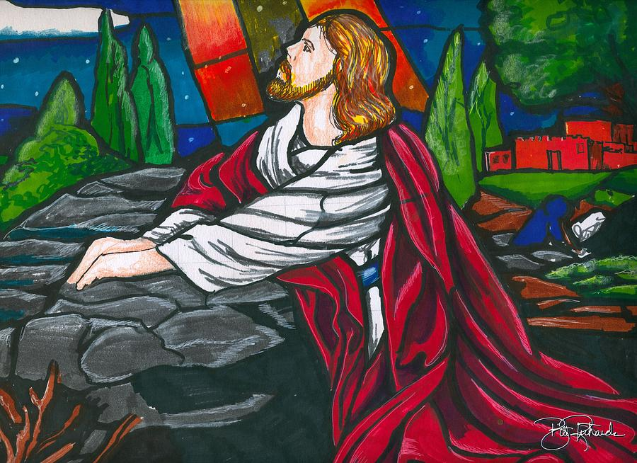 Jesus Drawing - At The Garden by Bill Richards