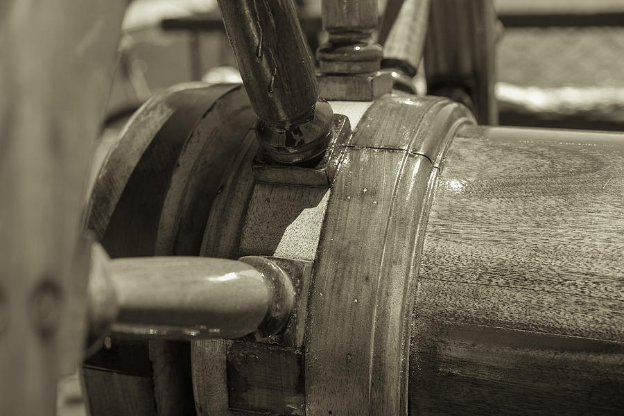 Ships Wheel Photograph - At The Helm Black And White Sepia by Scott Campbell