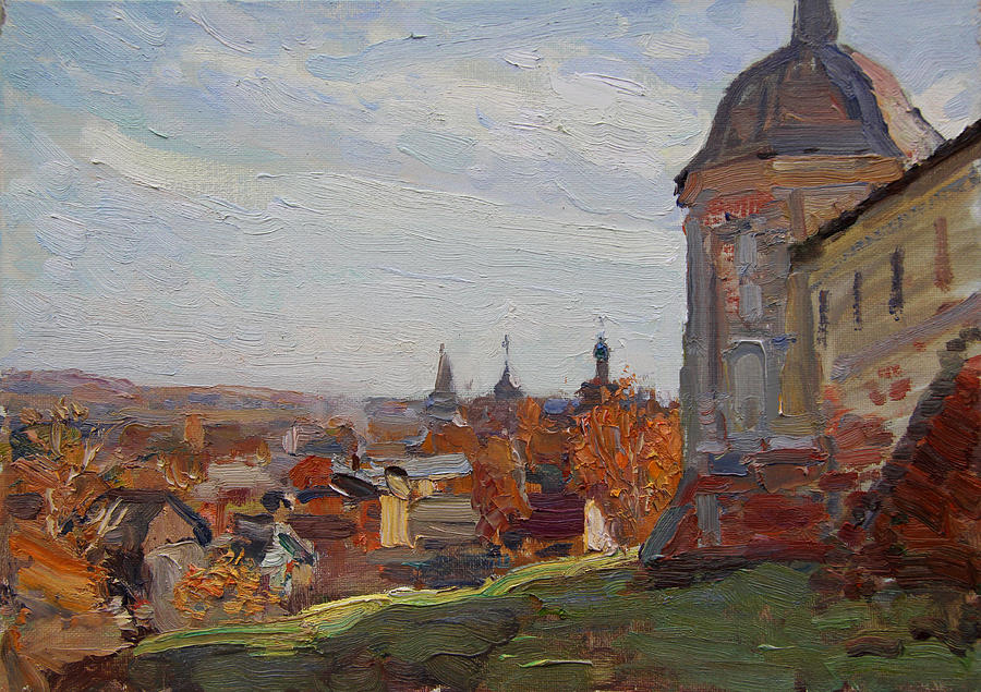 Landscape Painting - At The Monastery Goritsky by Korobkin Anatoly