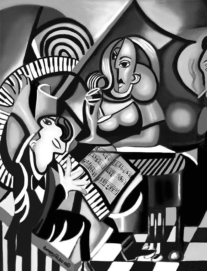 At The Piano Painting - At The Piano Bar by Anthony Falbo