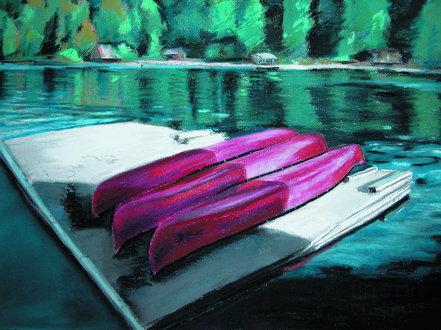 Kayaks Painting - At The Ready by Synnove Pettersen