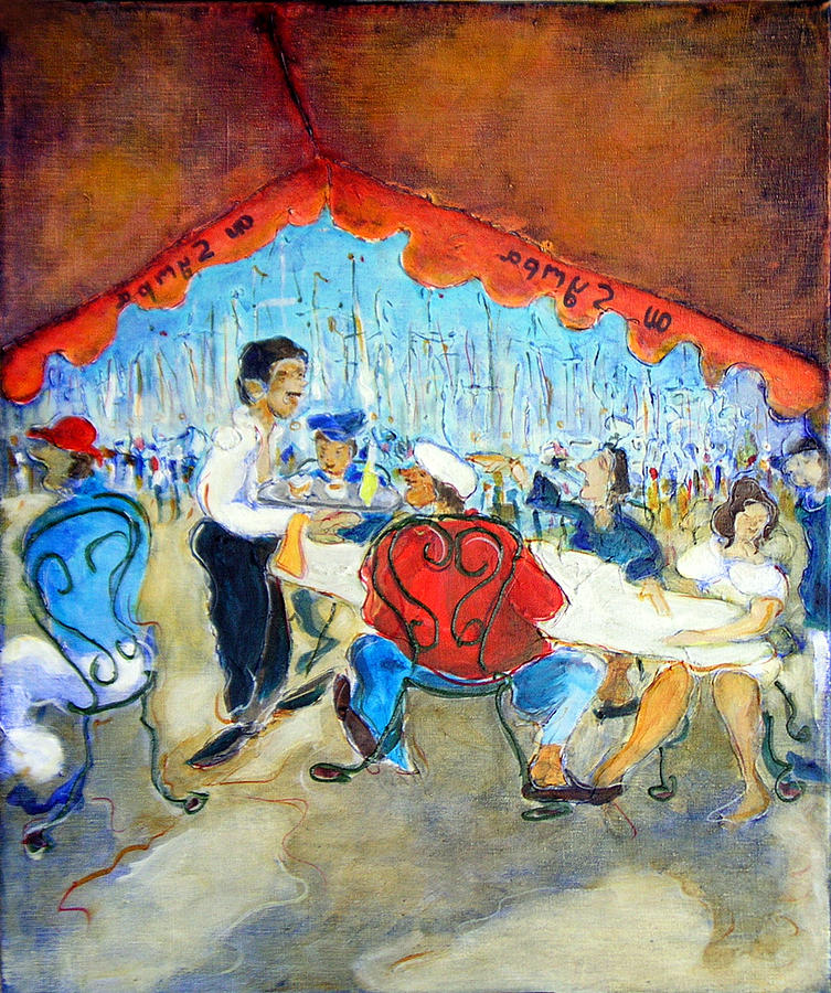 Cafe Painting - At The Sympa Cafe - Original Sold by Bernard RENOT
