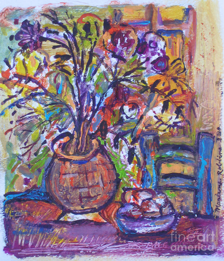 Table Painting - At the Table by Marlene Robbins